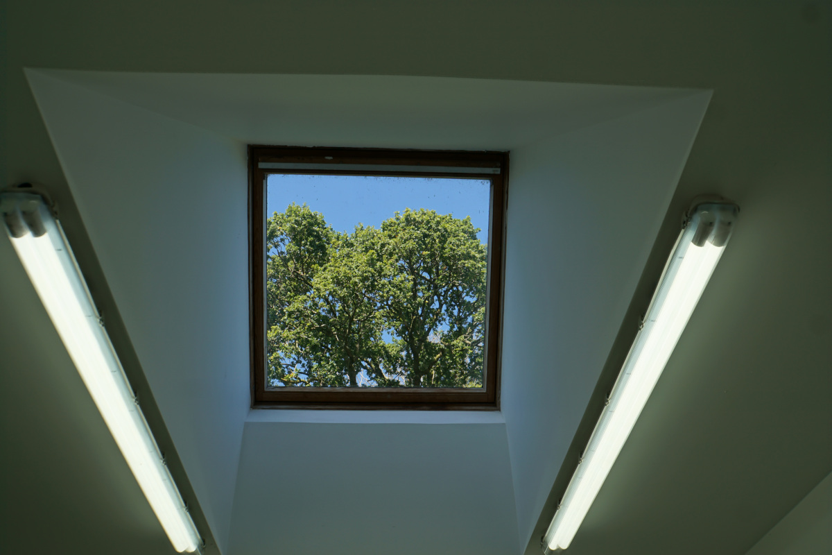 Inside the workshop. The skylight.